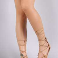 Wild Diva Lounge Suede Pointy Toe Lace Up Ballet Flat