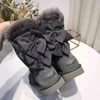 UGG winter new double bow female models warm and velvet snow boots