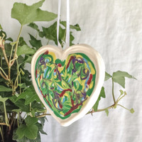 Ivy Like Design Hand Painted Heart Ornament, Unique Sugar Fun Decorative Hanging Sugar Art Ornament ~ Gift ~ Easter ~ Mothers Day ~ Any Day!