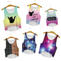 Summer Style Women Sexy Crop Tops Loose 3D Printed Cropped Cute Girl Tank Top Elastic Camisole Harajuku Lady Youth Vest
