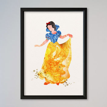 Snow White Princess Princess Watercolor Print Disney Snow White Watercolor Illustration poster Kids Wall art Nursery Giclee Print Fine Art