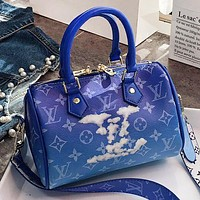 LV New fashion monogram leather pillow shape shoulder bag crossbody bag handbag Blue