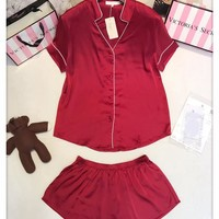 Victoria's Secret Women Silk Satin Embroidery Shirt Shorts Robe Sleepwear Loungewear Set Two-Piece