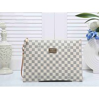 LV Louis Vuitton Popular Classic Women Men Office Bag Leather Handbag Wrist Bag Purse Wallet White I-KSPJ-BBDL