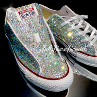 Wedding, Bride, Bridesmaid, sweet 16, All over Crystal Converse with tongue crystallized handmade (Including Shoes...read description)