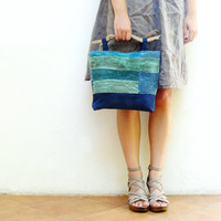 Ocean Breeze Bag - Smocked Hand Dyed Linen with Driftwood Handles and Leather details