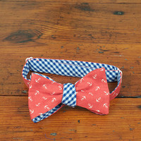 Red Anchor Reversible Bow Tie - Carolina Cotton Bow Ties