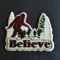 """Bigfoot Sasquatch """"Believe"""" Embroidered Cloth PATCH  iron on or sew 2.5 w x 2"""" h"""