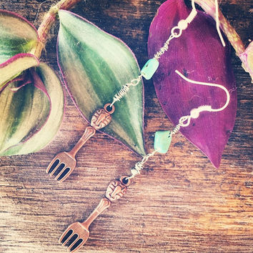 Copper Vintage Fork Charm Wire Wrapped Dangle Earrings feat. Raw Turquoise Stone // Boho Handmade Jewelry