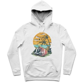 Let's Get Lost Trendy All-Over Print Solid White Smoke Hoodie