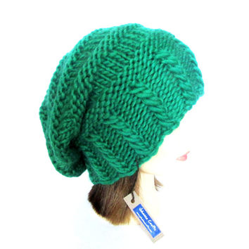 Irish knit slouch hat hand knit in Ireland bright green st patrick's day hat for patty's day hat paddy's day green hat with button beanie