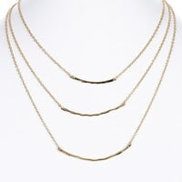 NECKLACE / TEXTURED METAL BAR / THREE LAYER BIB / LINK / CHAIN / 14 INCH LONG / 2 INCH DROP / NICKEL AND LEAD COMPLIANT