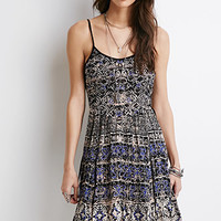 Lace-Up Abstract Print Dress