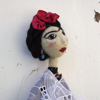Frida art doll needlefelted OOAK collectible, Custom Order unique gift doll