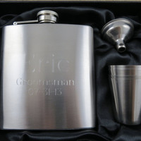 Personalized Flask with Shot and Funnell Gift Package - Groomsmen - Best Man - Gifts for men
