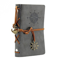lgge Gray Pu Vintage Retro Leather Cover Notebook Journal Blank String Nautical