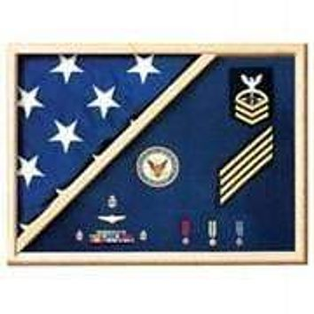Medal Flag Case made actual service uniform fabrics solid red oak and walnut cases