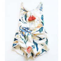 Rompers style boutique clothes newborn baby girls vintage floral jumpsuit