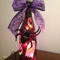 Bottle of Boos--wine bottle lamp--Halloween decor