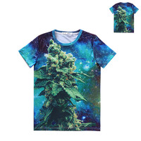 Blue Dream Tee weed leaf print 3d summer tees women men cotton galaxy kush t shirt tees funny shirts  tops