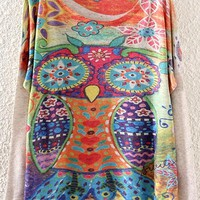Casual Beige Owl Print Loose Pullover