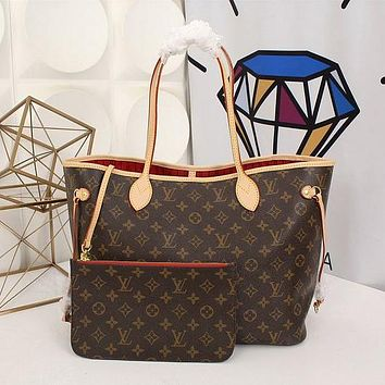Louis Vuitton Damier Canvas Neverfull MM Red Shoulder Handbag Article: N41358 Made in France 1