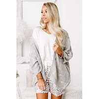 On Cozy Days Open Front Cardigan | Grey