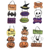 1PC Skeleton Pumpkin Ghost Bat Tri-linked Paper Pendant Halloween Decorations Ornaments Party DIY Decoration For Kids Supply