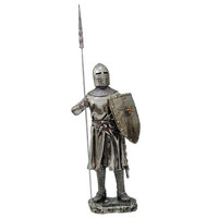 Crusader Knight Statue Silver Finishing Cold Cast Resin Statue 7 (8872)