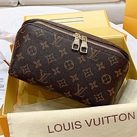 Inseva LV Louis vuitton New fashion monogram tartan leather handbag cosmetic bag