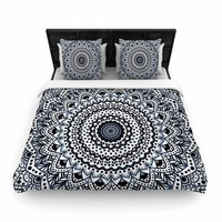 "Nika Martinez ""Boheme Dream Mandala"" Black Blue Illustration Woven Duvet Cover"