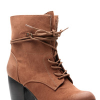 Rust Faux Suede Lace Up Chunky Booties