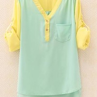 Mixed Color Chiffon V Neck Shirt for Women RHD765 from topsales