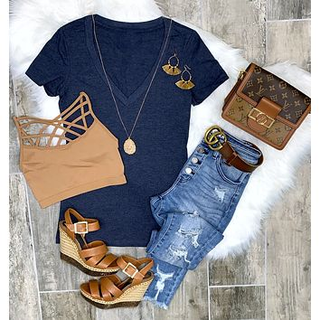 BASIC SHORT SLEEVE DEEP V TEE - NAVY