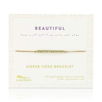 Gold Beautiful Morse Code Bar Bracelet