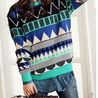 Geometric diamond-shaped color stripes loose sweater fs08 from Fashion Accessories Store