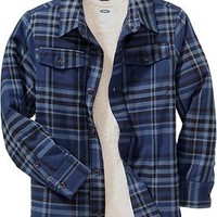 Boys Faux-Shearling-Lined Flannel Shirts | Old Navy