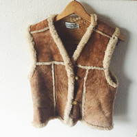 Vintage, 1970s, suede, tan, leather, shearling lined, rocker, hippie,country, boho, vest by Sportsman, Size M