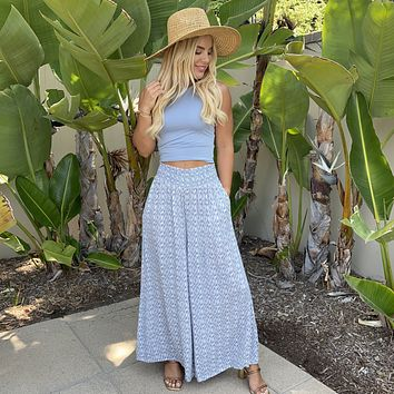 About Now Blue Smocked Palazzo Pants