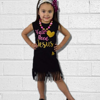 """Baby Girls Fringe Dress Outfit, """"Ya'll Need Jesus"""", Kids Clothes, Baby Girl Outfit, Toddler Girl, Summer, Sun Dress, Childrens, Summer"""