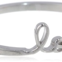Shy by SE White Love Ring with Diamond Bezel, Size 7