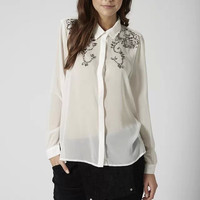Floral Sequined Long-Sleeve Button Collared Chiffon Shirt