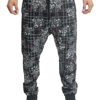 Floral Plaid French Terry Jogger Pants