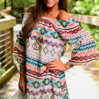 Hippie Bell Sleeve Dress, Coral