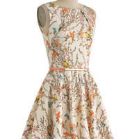 Luck Be a Lady Dress in Bird Song | Mod Retro Vintage Dresses | ModCloth.com