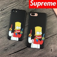 "Funny masked Simpson supreme Phone Case Cartoon Two guns supreme cover Case For iPhone 6 4.7""/ 6 6s 7 7plus 7 Plus 5.5""  Cover"