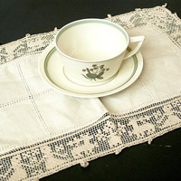 Antique Ecru Lace Doily, Victorian Ornate Handmade Lacework Woman and Deer, Aged Linen Tea Party Supply
