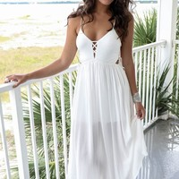 Skyline Drive White Maxi Dress