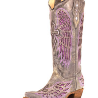 Corral Women's Distressed Black Winged Cross Purple Inlay Boot - A1969