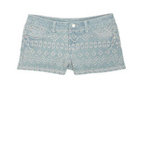 Light Wash Embroidered Short